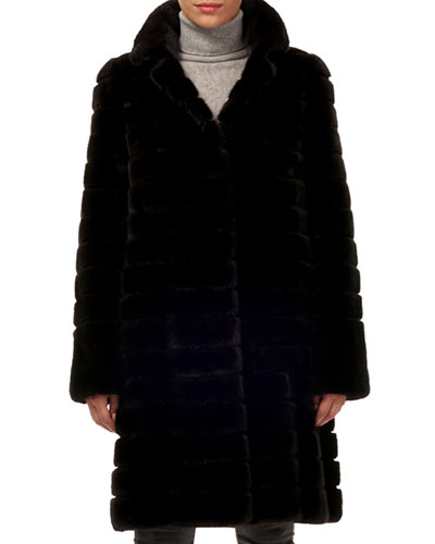 Reversible Horizontal Mink Fur Coat w/ Suede Belt