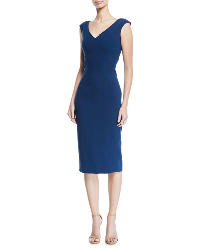 V-Neck Sleeveless Stretch-Cady Sheath Dress