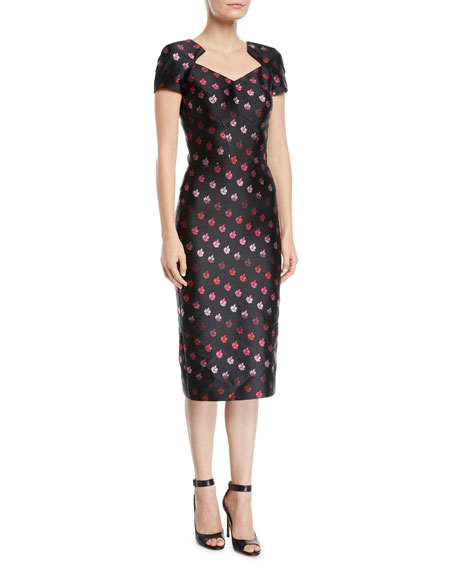 Zac Posen CAP-SLEEVE FOILED-ROSE SHEATH DRESS