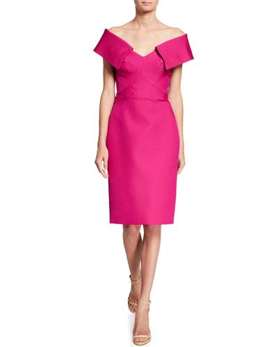 Portrait Collar Sheath Dress
