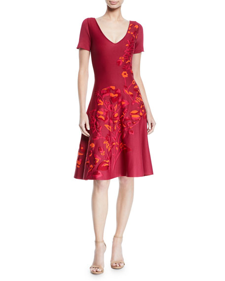 Zac Posen V-NECK SHORT-SLEEVE FIT-AND-FLARE FLORAL-JACQUARD DRESS