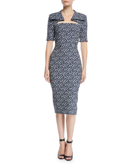 Zac Posen CUTOUT-NECKLINE ELBOW-SLEEVE FLORAL-PRINT MIDI SHEATH DRESS