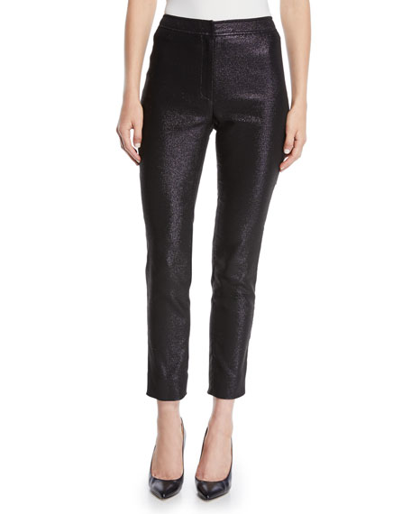 Zac Posen MID-RISE METALLIC CIGARETTE PANTS