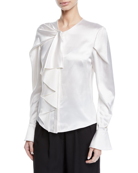 Zac Posen DRAPED NECK SATIN BLOUSE