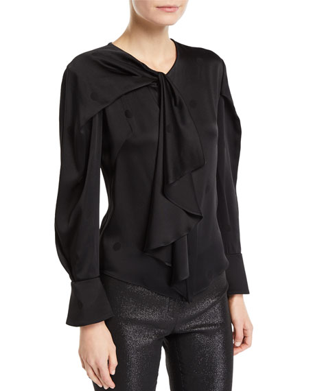Zac Posen DRAPED-NECK POLKA DOT BLOUSE