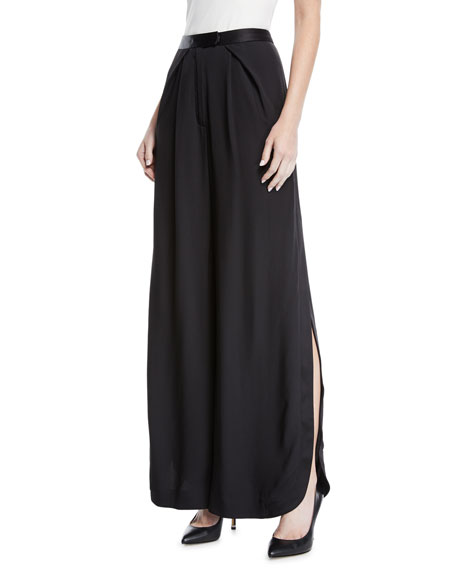 Zac Posen SIDE SLIT WIDE LEG TUX PANT