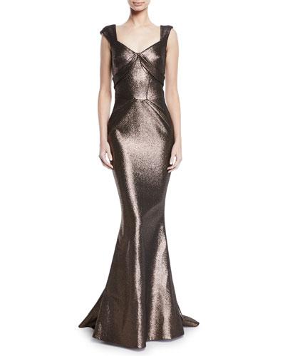 Sweetheart Cap-Sleeve Lame Mermaid Gown