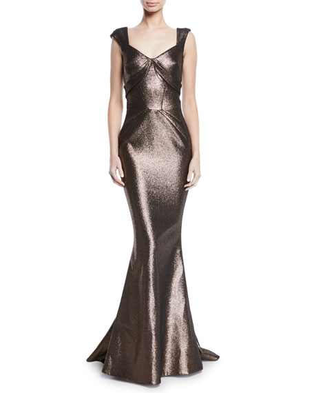 Zac Posen SWEETHEART CAP-SLEEVE LAME MERMAID GOWN
