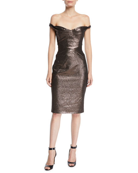 Zac Posen FITTED METALLIC COCKTAIL SHEATH DRESS