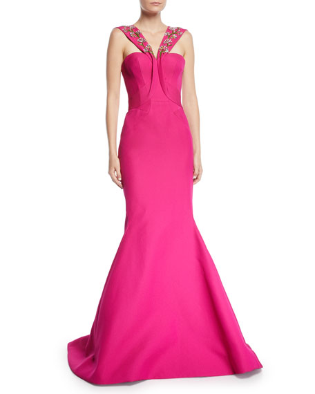 Zac Posen BEADED CROSS-FRONT TRUMPET GOWN
