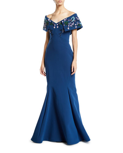 Off-The-Shoulder Beaded Portrait Collar Gown