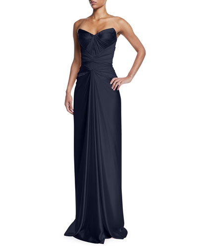 Strapless Knot-Front Bustier Dress
