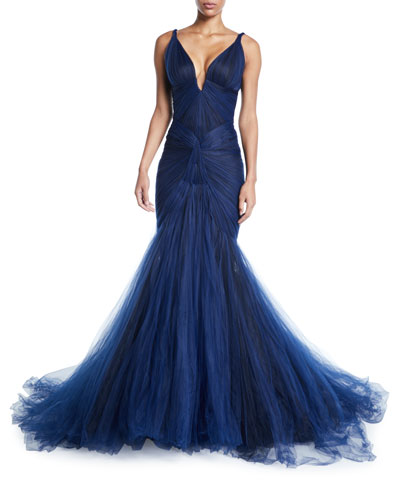 Plunging Tulle-Skirt Mermaid Gown