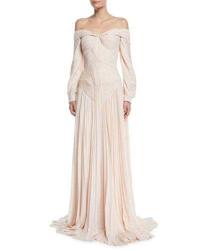 Off-The-Shoulder Pleated Long-Sleeve Gown