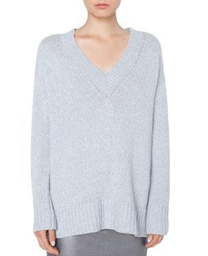 89bda8865eff Akris punto Oversize Wool Cashmere Sweater with Side Zip Details