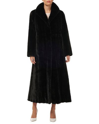 Directional Mink Fur Silk Taffeta Long Coat