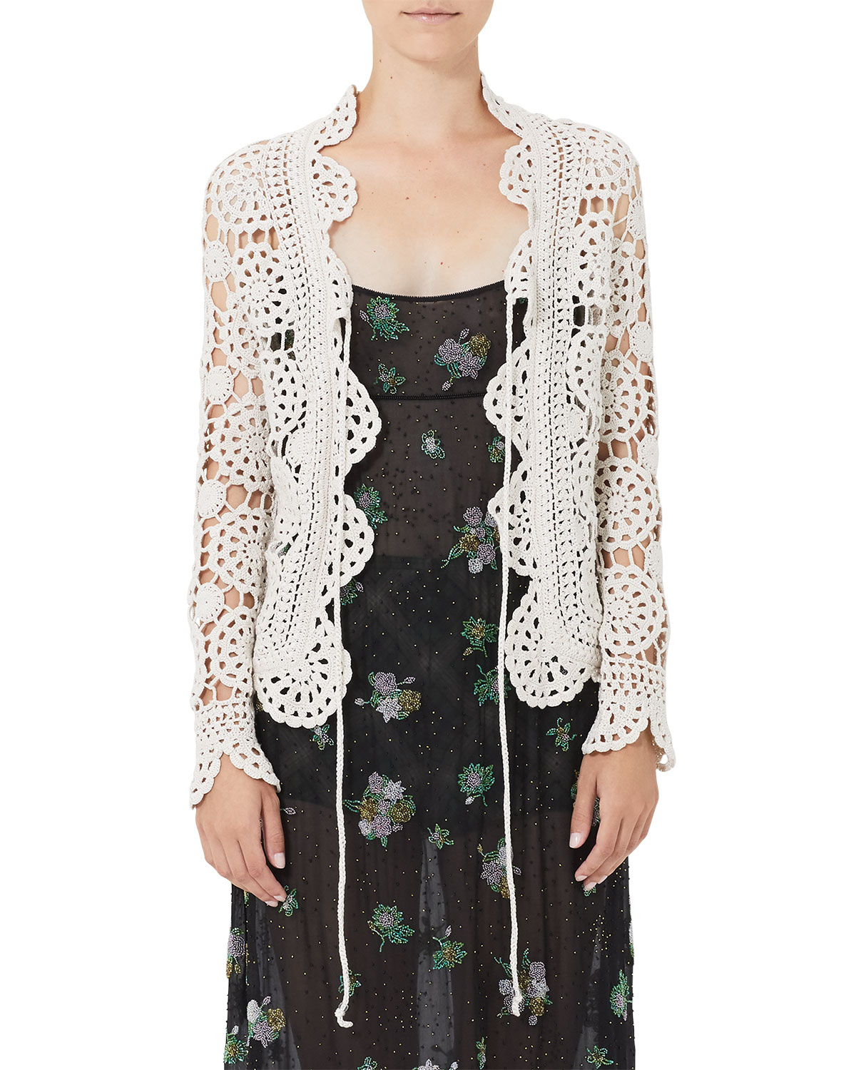 a92ccd56f1ae4 Marc Jacobs Tie-Front Cotton Crochet Cardigan