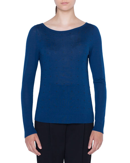 Akris Punto Sweaters STUDDED WOOL PULLOVER SWEATER
