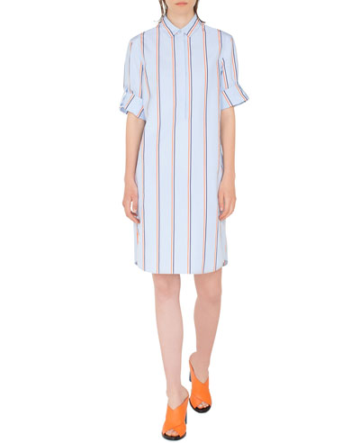 Striped Kent-Collar Shirtdress