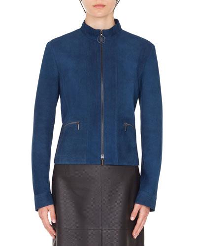 Zip-Front Stand-Collar Suede Jacket