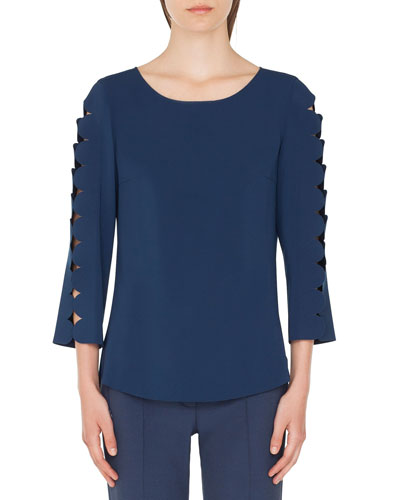Boat-Neck Blouse with Laser-Cut Sleeves