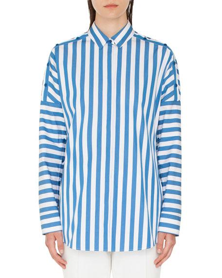 Akris punto Striped Kent-Collar Button-Shoulder Long-Sleeve