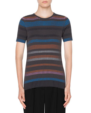21eff5e11f01 Akris punto Short-Sleeve Fitted Striped Wool Sweater
