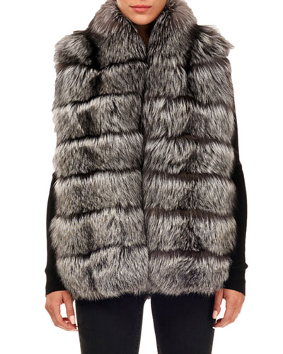 Horizontal-Quilted Fox-Fur Vest
