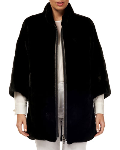 3/4-Sleeve Zip-Front Short Nap Mink Fur Jacket