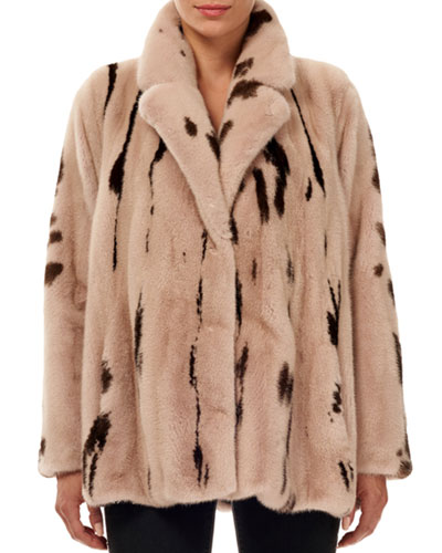 Jaguar-Print Mink Fur Jacket w/ Notch Collar