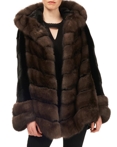 Sable & Mink-Fur Chevron Jacket w/ Belt