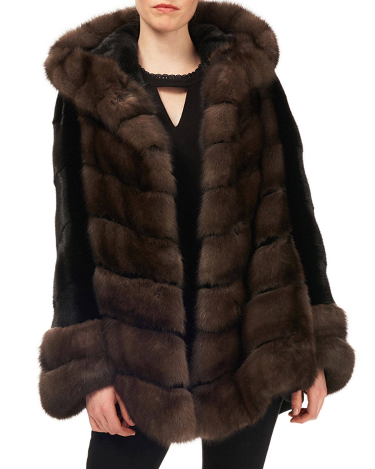 5fe3803a1b047 Gorski Sable   Mink-Fur Chevron Jacket w  Belt