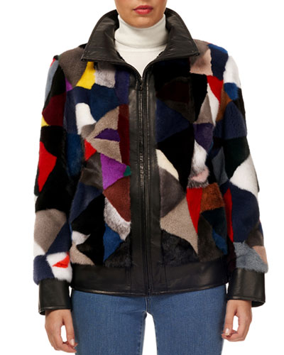 Patchwork Mink-Fur Zip-Front Jacket w/ Leather