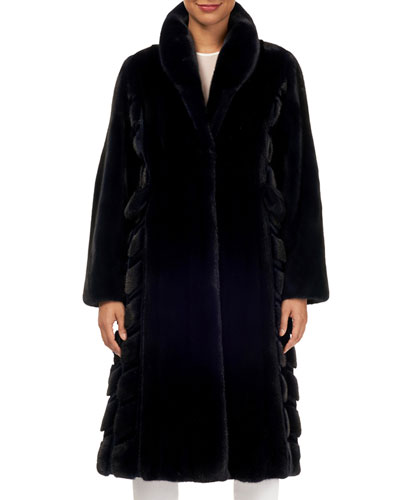 Wing-Collar Long Mink Fur Coat w/ Sheared Mink Inserts