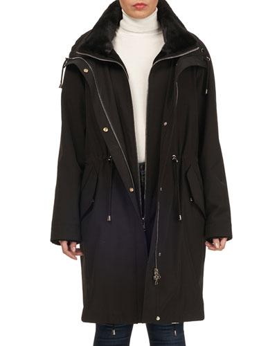 Reversible Sheared Mink Stroller Coat w/ Short-Nap Collar