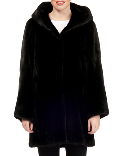 Hooded Mink-Fur Stroller Coat