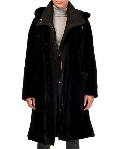 Sheared Mink Stroller Coat w/ Detachable Parka