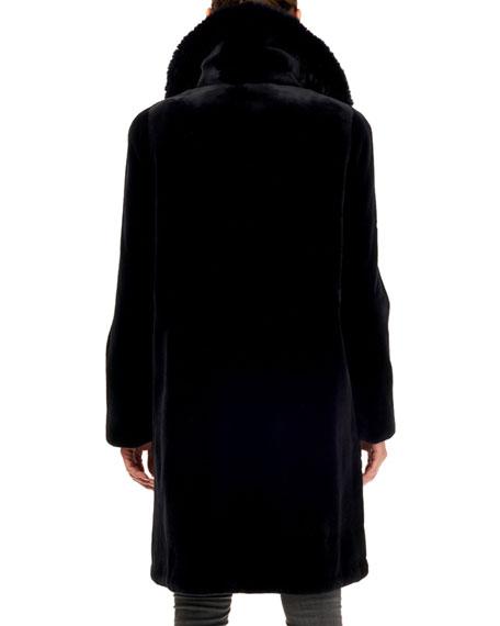 Gorski Sheared Mink Fur Coat w/ Fox Collar