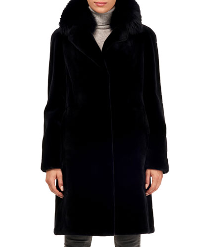 Sheared Mink Fur Coat w/ Fox Collar