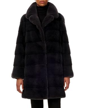 1ec5345f8165 Gorski Reversible Notched-Collar Horizontal Mink-Fur Stroller Coat