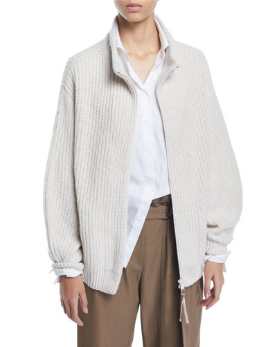 Shimmer English-Ribbed Cashmere Zip-Front Cardigan