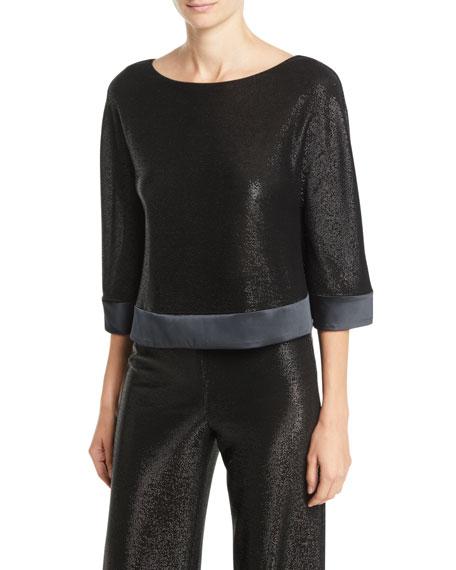 Scoop-Neck 3/4-Sleeve Metallic-Mesh Top in Black from ARMANI.COM