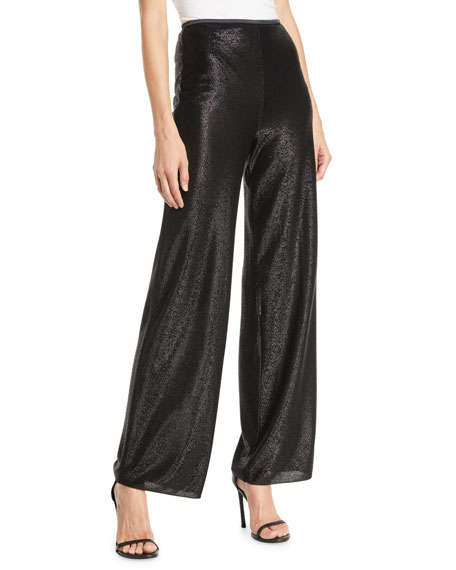Easy High-Waist Wide-Leg Metallic-Mesh Pull-On Pants in Black from ARMANI.COM