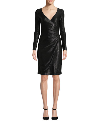 Long-Sleeve Metallic Mesh Wrap Dress