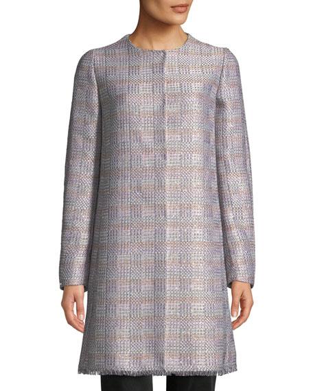 Emporio Armani Frayed-Trim Multi-Tweed Topper Coat
