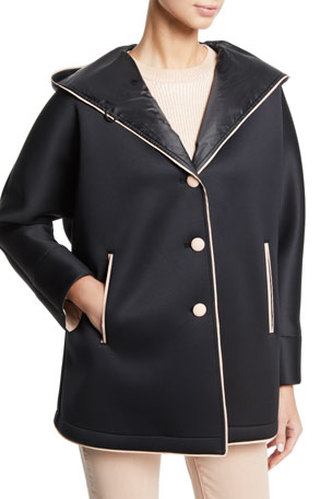 Emporio Armani Hooded Neoprene Caban Coat