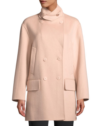 Double-Breasted Cashmere Pea Coat