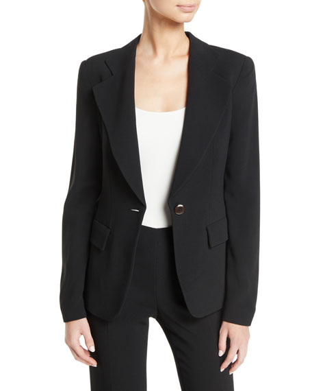 Emporio Armani Notched-Lapels One-Button Cady Jacket w/ Ruched