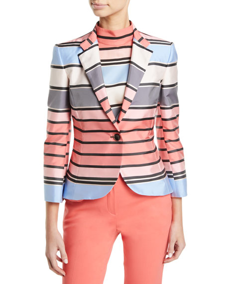 One-Button 3/4-Sleeve Multicolor Awning-Stripe Taffeta Jacket in Pattern from ARMANI.COM