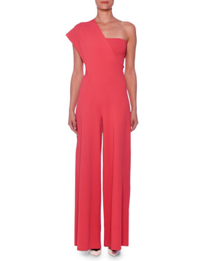 7d14a5615fa4 Stella McCartney One-Shoulder Wide-Leg Knit Jumpsuit